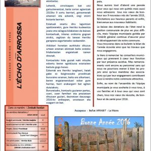 Couverture Bulletin municipal 2016 - Saint Martin d'Arrossa